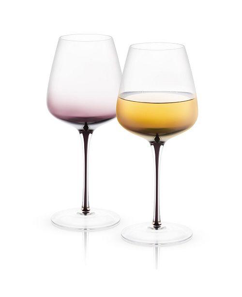 JoyJolt Black Swan White Wine Glasses Set of 2
