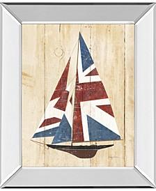 "British Flag Sailboat by Avery Tillmon Mirror Framed Print Wall Art, 22"" x 26"""