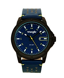 Men's, 48MM IP Black Case, Blue Dial, White Index Markers, Sand Satin Dial, Analog, Date Function, Yellow Second Hand, Blue Strap with Yellow Accent Stitch