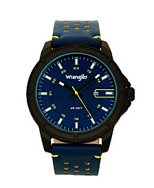 Wrangler Men's, 48MM IP Black Case, Blue Dial, White Index Markers, Sand Satin Dial, Analog, Date Function, Yellow Second Hand, Blue Strap with Yellow Accent Stitch