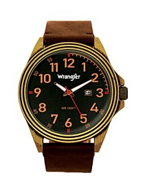 Men's, 48MM Antique Brass Case, Black Dial, Bronze Arabic Numerals, Black Strap, Analog Watch with Red Second Hand, Date Function
