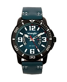 Wrangler Men's Watch, 48MM IP Black Case with White Printed Arabic Numerals on Outer Black Bezel, Blue Dial with Dual Crescent Windows, Date Function, Blue Strap with White Accent Stitch Analog