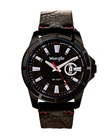 Men's Watch, 46MM IP Black Case with Cutout Bezel, Black Milled Dial with White Index Markers, Analog, Red Second Hand and Cutout Crescent Date Function, Black Strap with Red Accent Stitch