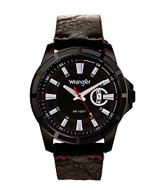 Wrangler Men's Watch, 46MM IP Black Case with Cutout Bezel, Black Milled Dial with White Index Markers, Analog, Red Second Hand and Cutout Crescent Date Function, Black Strap with Red Accent Stitch