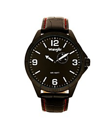 Men's Watch, 48MM IP Titanium Case with Titanium Dial, Second Hand Subdual, Black Strap with Red Stitching
