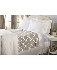 Home Fashions Designs Lattice Scroll Design Ultra Plush Printed Bed Blanket Collection