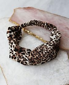 Leopard Print Top Knot Wrap Style Headband
