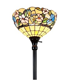 Tiffany Style Hummingbirds Floral Torchiere Floor Lamp