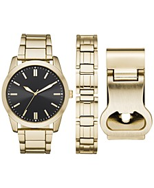 Men's Gold-Tone Bracelet Watch 46mm Box Set