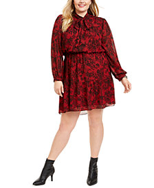 Michael Michael Kors Plus Size Chantilly Printed Tie-Neck Dress