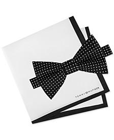 Men's 2-Pc. Pre-Tied Dot Bow Tie & Silk Twill Pocket Square Set