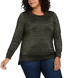 Plus Size Shimmer High-Low Sweater