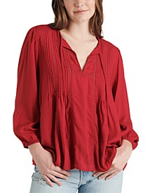 Pleated Split-Neck Top