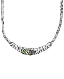Multi-Gemstone (7/8 ct. t.w.) Tiger Classic Necklace in Sterling Silver and 18k Yellow Gold Accents