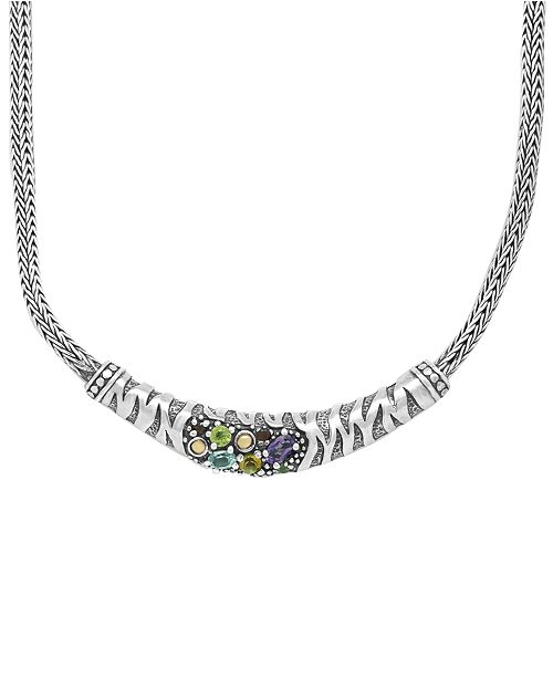 DEVATA Multi-Gemstone (7/8 ct. t.w.) Tiger Classic Necklace in Sterling Silver and 18k Yellow Gold Accents