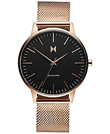 Women's Boulevard Magnolia Rose Gold Ion-Plated Steel Mesh Bracelet Watch 38mm