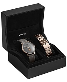 Men's Revolver Bronze Age Gray Leather Strap Watch Set 41mm