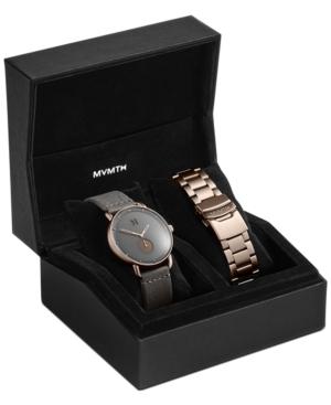 Mvmt Men's Revolver Bronze Age Gray Leather Strap Watch Set 41mm In Grey