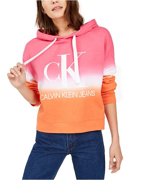 Calvin Klein Jeans Women Cropped Tie Dye Graphic Hoodie
