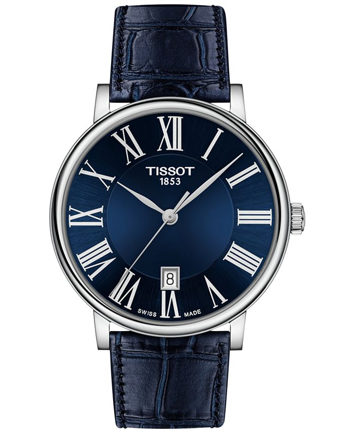 Tissot - Men's Swiss Carson Premium Blue Leather Strap Watch 40mm