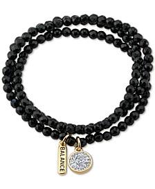 Crystal & Balance Charm Onyx Stone Bead Stretch Bracelet