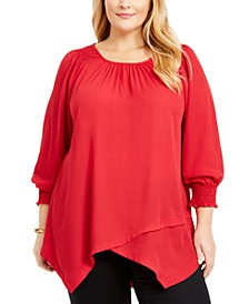 Plus Size Smocked-Cuff Blouse