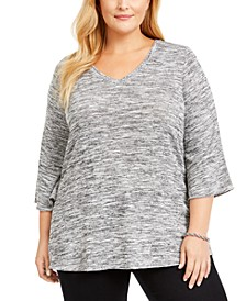Plus Size Stud-Trim 3/4-Sleeve Top
