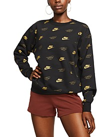 Women's Sportswear Shine Metallic-Print Sweatshirt