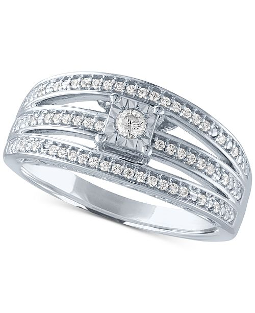 Macy's Diamond Multi-Row Promise Ring (1/4 ct. t.w.) in Sterling Silver