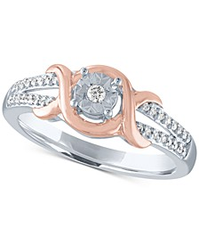 Diamond Two-Tone Promise Ring (1/4 ct. t.w.) in Sterling Silver & 14k Rose Gold-Plate