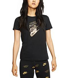 Women's Sportswear Cotton Metallic-Logo T-Shirt