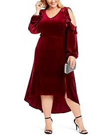 Plus Size Velvet Ruffled High-Low Maxi Dress