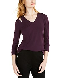 INC Cutout V-Neck Top, Created for Macy's
