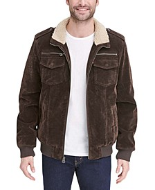 Men's Faux Suede Collar Aviator Bomber Jacket with Sherpa Lining