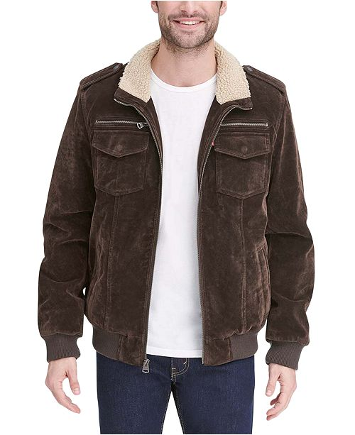 Levi's Men's Faux Suede Collar Aviator Bomber Jacket with Sherpa Lining