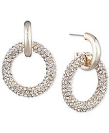Gold-Tone Pavé Crystal Ring Drop Earrings