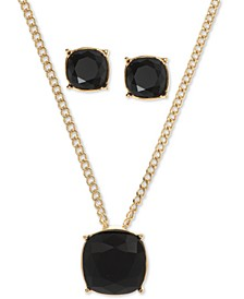 "Gold-Tone Crystal Pendant Necklace & Stud Earrings Set, 16"" + 3"" extender"