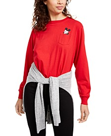Disney Juniors' Mickey Mouse Long-Sleeved Pocket T-Shirt by Modern Lux