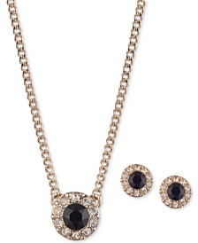 "Pavé and Stone Halo Pendant Necklace & Stud Earrings Set, 16"" + 3"" extender"