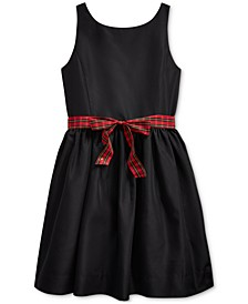 Big Girl's Plaid-Bow Taffeta Dress
