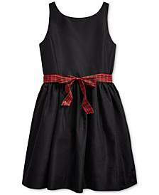 Big Girl's Plaid-Bow Taffeta Dress