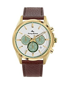 Men's Chronograph Brown Leather Starp Watch, 43mm