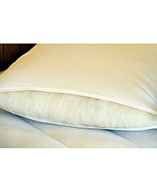 Natural Wool-Wrapped Latex Pillow with Organic Cotton Sateen Zippered Encasement