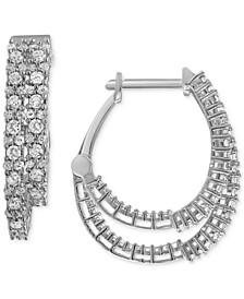 Double Row Diamond Hoop Earrings (1 ct. t.w.) in 10k White Gold or 10k Gold