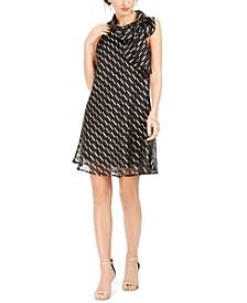 Petite Chiffon-Overlay Tie-Neck Dress
