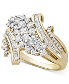 Diamond Cluster By-Pass Statement Ring (1 ct. t.w.) in 10k Gold