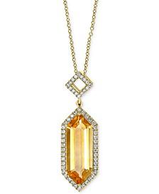 "EFFY® Citrine (2-7/8 ct. t.w.) & Diamond (1/4 ct. t.w.) 18"" Pendant Necklace in 14k Gold"