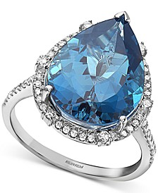 EFFY® London Blue Topaz (9-1/10 ct. t.w.) & Diamond (1/3 ct. t.w.) Pear Statement Ring in 14k White Gold