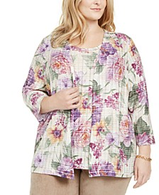 Plus Size Loire Valley Printed Layered Look Top