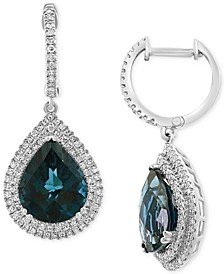 EFFY® London Blue Topaz (7-3/8 ct. t.w.) & Diamond (5/8 ct. t.w.) Drop Earrings in 14k White Gold